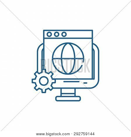 Global Seo Line Icon Concept. Global Seo Flat  Vector Symbol, Sign, Outline Illustration.