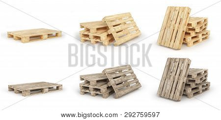 Set Of Stack Of Wood Pallets Isolated On A White. 3d Illustration