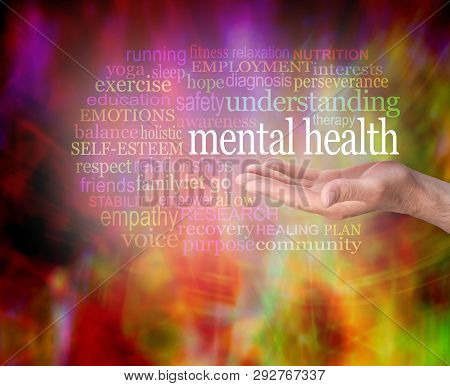 Mental Health Awareness Word Tag Cloud - Male Open Palm Hand With The Words Mental Health Floating A
