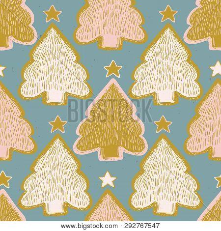 Winter Rustic Christmas Tree Lino Cut Texture Seamless Vector Pattern