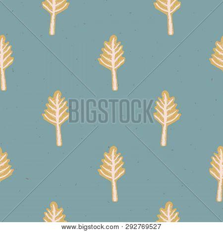 Winter Rustic Fir Tree Lino Cut Texture Seamless Vector Pattern, Sketchy Pine