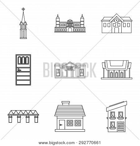 Edifice Icons Set. Outline Set Of 9 Edifice Icons For Web Isolated On White Background