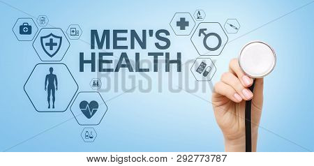 Mens Health Banner, Medical And Health Care Concept On Screen. Doctor With Stethoscope.
