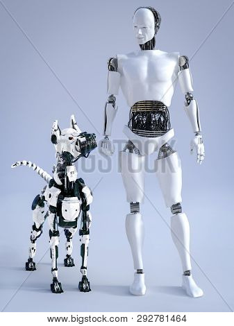 3d Rendering Of A Male Robot With A Futuristic Mean Looking Robot Dog Beside Him. They Are Looking A