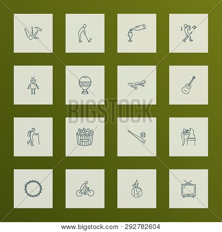 Lifestyle Icons Line Style Set With Singing, Tv, Biking And Other Chatbot Elements. Isolated  Illust
