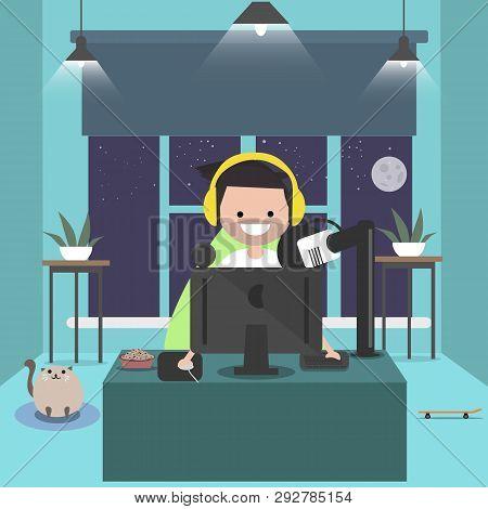 Young Character Sitting At Computer Desk.streaming.night Roomflat Cartoon Design.clip Art