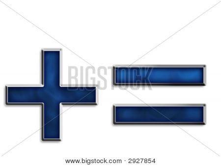 Fiery blue & chrome addition plus & equal sign or hyphen punctuation & math symbols poster