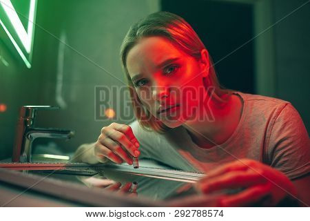 Drugs Destroy Your Life. Portrait Of Young Drug Addict With Rolled Banknote Looks At Camera Before T