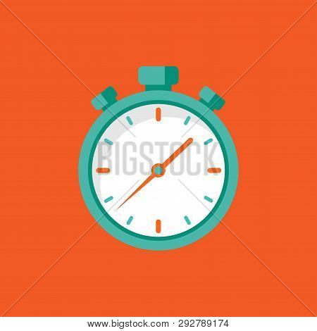Blue Stopwatch Flat Icon Isolated On Red. Fast Time Stop Watch