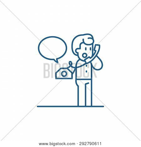 Negotiations On The Phone Line Icon Concept. Negotiations On The Phone Flat  Vector Symbol, Sign, Ou