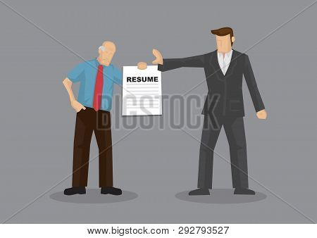 Cartoon Grey Hair Old Man Character Holding Resume And Businessman Holds A Stop Gesture. Vector Illu