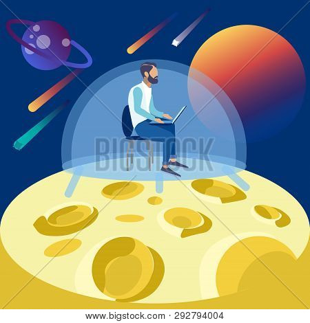 The Programmer Works On The Moon, Seclusion In Space. In Minimalist Style Cartoon Flat Vector