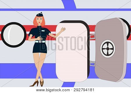 Air Lady Stewardess Invites To Flight Near The Aircraft Door. Boarding In Plane As A Welcome On Boar