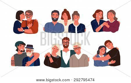Collection Of Children Or Grandchildren With Parents And Grandparents. Grandfather, Grandmother, Fat