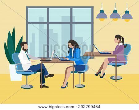 Training Future Employees, Secretary. Office Work, Report. In Minimalist Style. Flat Isometric Vecto