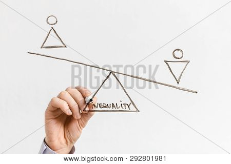 Discrimination of female rights, sexism. Male figure outweigh Female one on drawn scales with word inequality on glass board poster