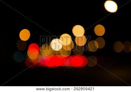 Blured Light Road At Night, Mueng, Sukhothai, Thailand
