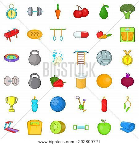 Workout Icons Set. Cartoon Style Of 36 Workout Icons For Web Isolated On White Background