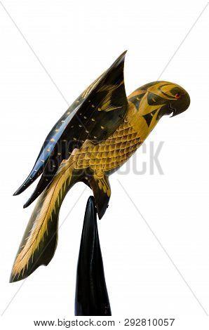 Wooden Decorative Bird Decoy On A White Background.