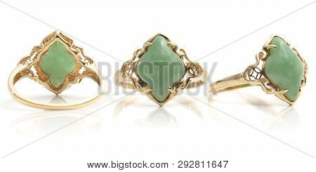 Front Back And Side View Of Gold And Polished Green Gemstone Womens Ring