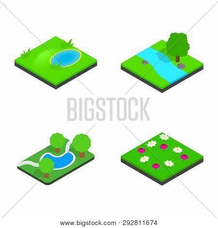 Green Land Icon Set. Isometric Set Of Green Land Icons For Web Isolated On White Background