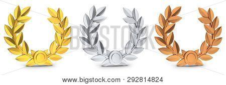 Three Symbol Winner Gold, Silver And Bronze. 3d Illustration