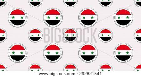 Syria Round Flag Seamless Pattern. Syrian Background. Vector Circle Icons. Geometric Symbols Sticker