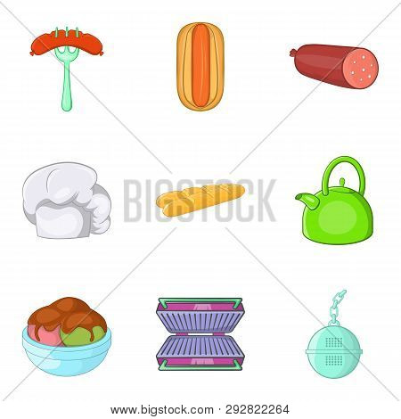 Luncheon Icons Set. Cartoon Set Of 9 Luncheon Icons For Web Isolated On White Background