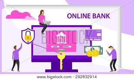 Online Banking Concept With Character. Mobile Banking Concept Illustration Of People Using Computer
