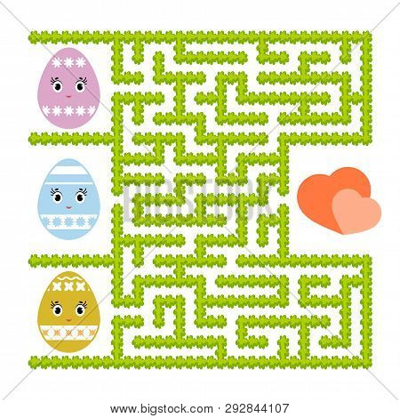 Color Abstract Labyrinth. Kids Worksheets. Activity Page. Game Puzzle For Children. Cute Egg Toon, T