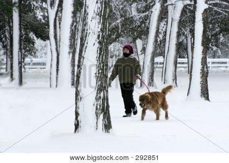 Girl Walking Dog 001