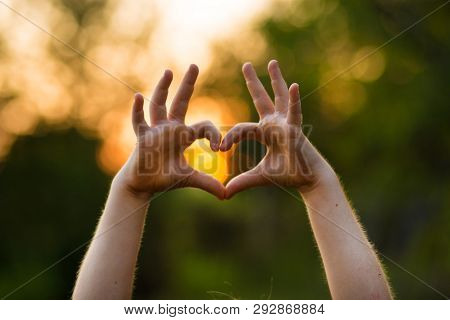 Heart Shape Hand Of Kid's Body Language For Children's Love, Kindness, Love Concept.