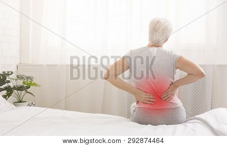 Senior Woman Suffering From Backache In Morning Sitting On Bed, Red Sore Zone, Panorama With Free Sp