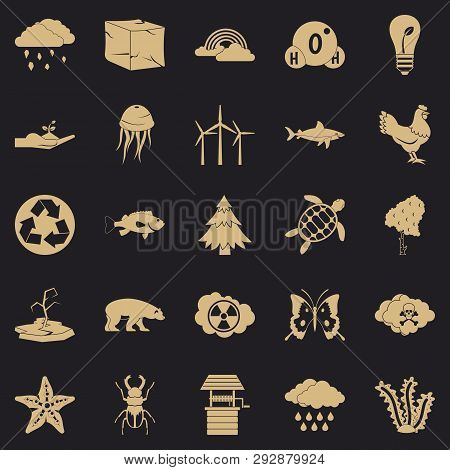 Terra Icons Set. Simple Set Of 25 Terra Vector Icons For Web For Any Design