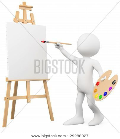 3D Artist Painting On A Canvas On An Easel