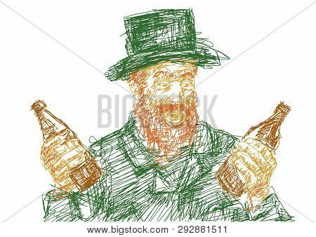 Man With Red Beard Holds Two Bottles Of Beer. Green Top Hat And Frock Coat. Colorful Illustration Fo