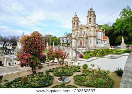 Braga, Portugal - March 31, 2019: The Beautiful Gardens Next To The Sanctuary Of Bom Jesus Do Monte