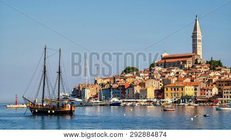 Romantic Old Town Of Rovinj In Croatia, Europe.