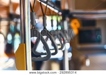 Handrails on the bus. Bus Safety. Loops in the bus poster