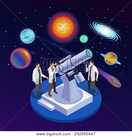 Astrophysics Round Isometric Composition With Astronomers Observing Planets Meteorites Galaxies With