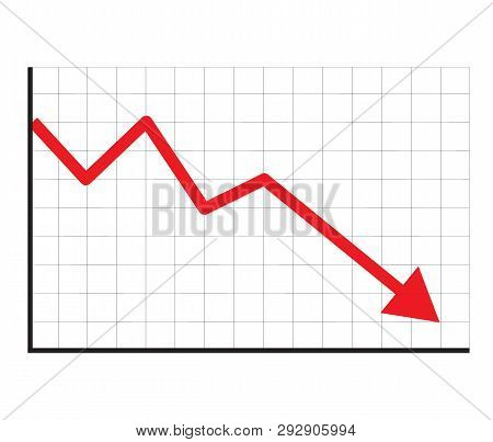 Stock Icon On White Background. Flat Style. Financial Market Crash Icon For Your Web Site Design, Lo