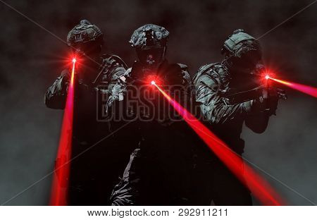 Special Force Assault Team During A Secret Mission
