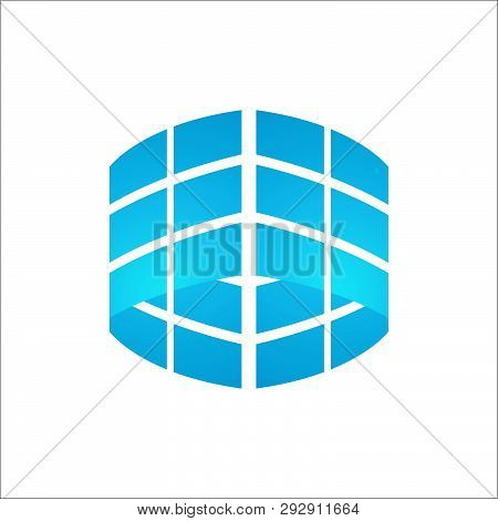 3d Window Glass Logo. Square Stylish Logo.  Building Glass Dimensions Creative Illustration Concept.