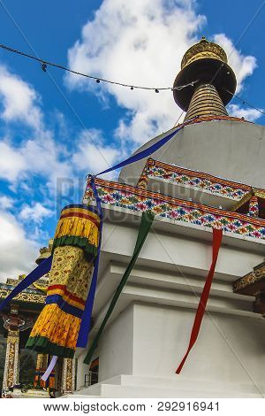 Doeboom Lam, Thimphu, Bhutan - 2017: Side Facade Of The Colorful Decorated Thimphu Chorten