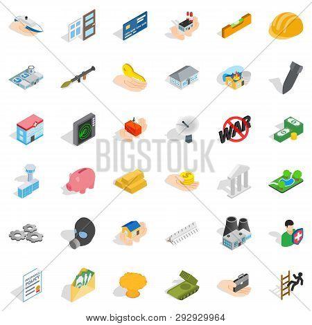 Fellowship Icons Set. Isometric Style Of 36 Fellowship Icons For Web Isolated On White Background