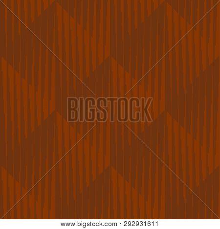 Geometric Striped Rhombus Minimal Seamless Pattern. Clay Brown Striped Texture Repeat Motif. Simple