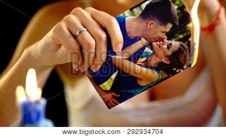 Wedding memories and burning photo. Photos of adultery - blackmail for ransom.