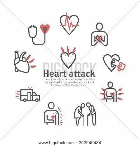 Myocardial Infarction Banner, Icon. Symptoms, Treatment. Vector Signs