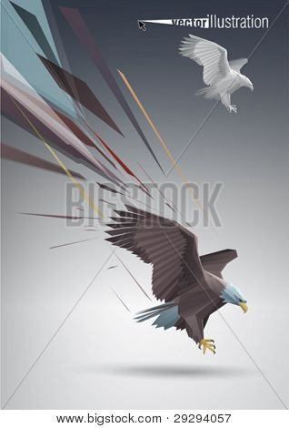 Eagle with spread wings and talons out stylized polygonal model