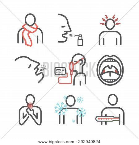 Laryngitis. Symptoms, Treatment. Line Icons Set. Vector Illustration